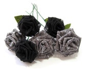 Elegant Silver and Black Rose Bouquet
