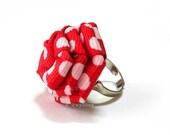 Large Polka Dot Red Rose Ring