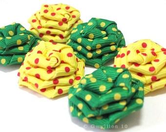 Yellow and Green Polka Dot Rose Drops - (6)