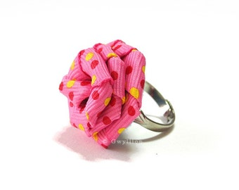 Polka Dot Pink Rose Ring