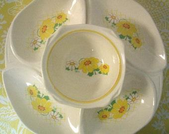 Vintage California Pottery Hildi Design Divided Serving Set