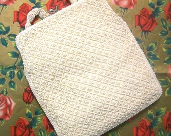 Vintage White Beaded Magid Evening Purse