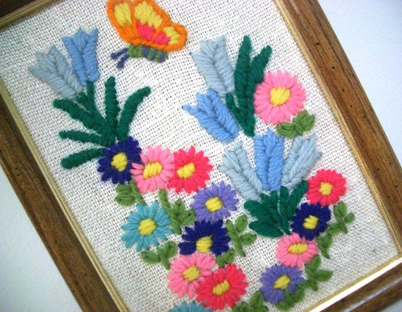 RESERVED for Yvonne Foster - Vintage Embroidered Flowers with Butterfly