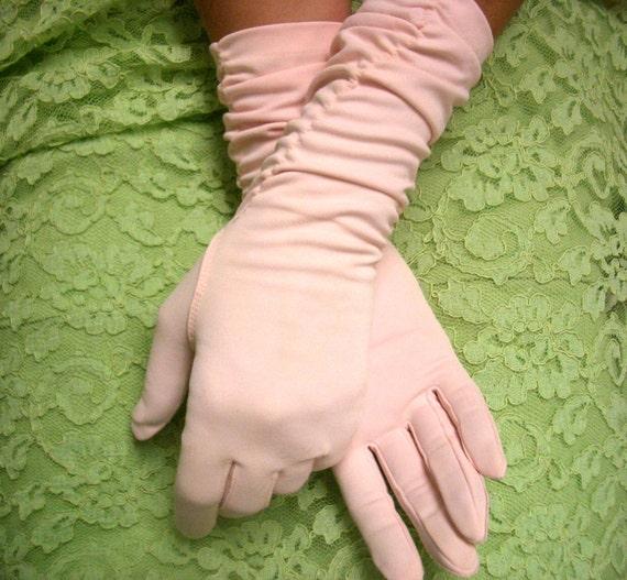 Vintage Max Mayer Long Pink Evening Gloves
