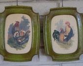 SALE - Vintage Syroco Rooster Prints