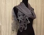 Contemporary Lace chiffon scarf - blue/grey