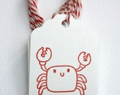 Cutie Crab Tags - hand stamped for favors, gifts - red crab tag, ocean theme tag