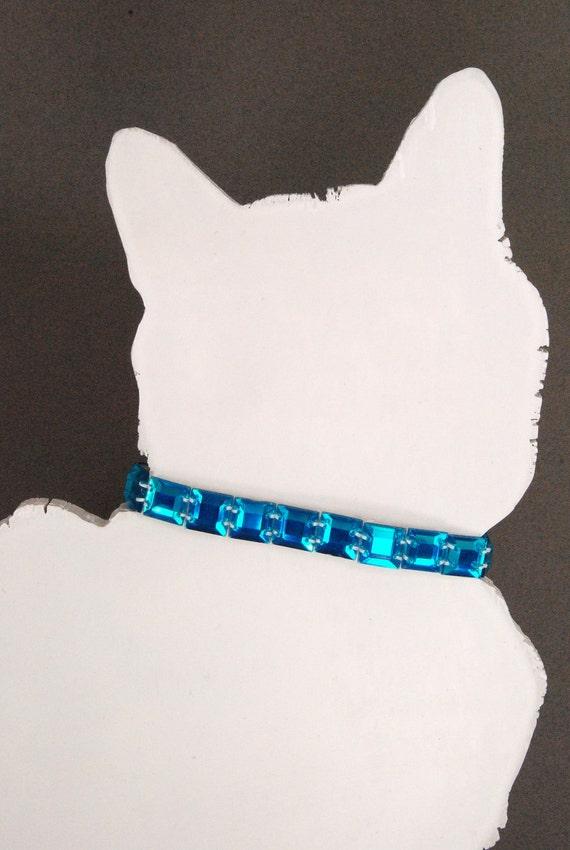 Aquamarine Rhinestone Cat Collar