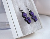 Molly - Quilled Paper Earrings in Purple and Black