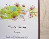 Modern Burgandy Flower Skinny Wedding Program