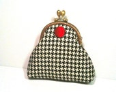 Coin Purse in Black and White Plaid with Red Button