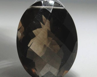 SMOKY QUARTZ oval checkerboard faceted bead, 52.66 carats                  068-009-001