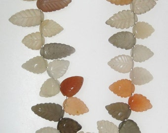 Carved Moonstone leaf beads, 9x13mm average size,, 36 beads                       1053-019-004