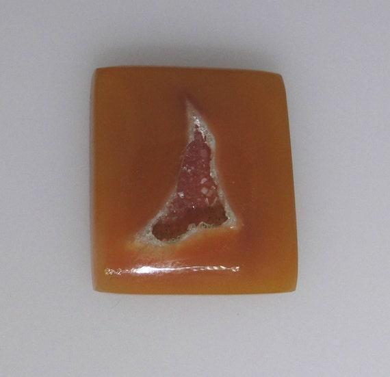 Agate Druzy abstract gem, dark peach color, 31.51 carats                                096-18-011