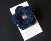 Navy Blue Crocheted Flower Hair Clip with Rhinestone Center - Crochet flower clippies