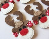 Reindeer Felt Hair Clip - Rudolph the Red Nosed Reindeer Clippies - Christmas Winter Holiday Hair Clips
