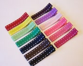 Saddle Stitch Lined Hair Clips - Set of 4 Clippies - You Pick Colors - Simple Everyday Hair Clips