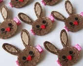 Chocolate Felt Bunny Hair Clip - Super cute Spring or Easter clippie - Chocolate Brown and Hot Pink - LAST ONE