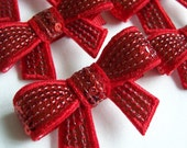 Red Sequin Bow Hair Clip -  Sequin Bow Clippie - everyday and special occasions - birthday party favors - Valentine hairbow - solid red bow