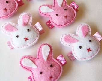 Puffy Bunny Felt Hair Clip - Pick 1 Hot Pink or White - cute Easter felt bunny hairbow - Holiday hair bows with non slip grip clippie