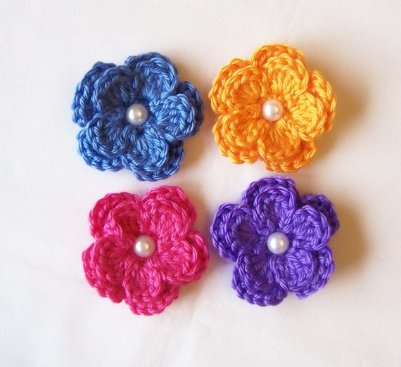 Set of Four Bright Crocheted Flower Clippies with Pearl Centers - Pink, Purple, Periwinkle and Mango - Special Price - LAST ONE