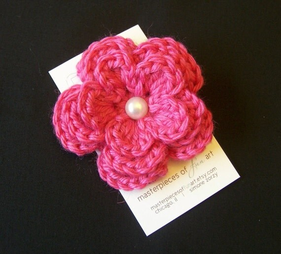 Large Hot Pink Crocheted Flower Clippie with Pearl Center