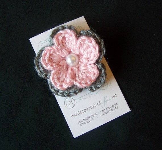 Grey and Light Pink Crochet Flower Hair Clip with Pearl Center - Crocheted flower clippies