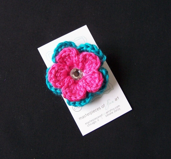 Turquoise and Hot Pink Crocheted Flower Hair Clip with Rhinestone Center - Crochet flower clippies - Birthday Party Favors - SALE PRICE