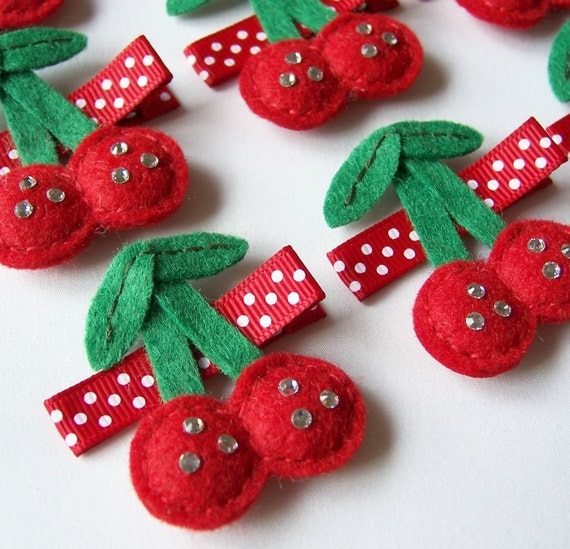 Felt Cherries Hair Clip - An adorable red and sparkly cherry felt clippie - Cute every day clip - SALE PRICE - Last One
