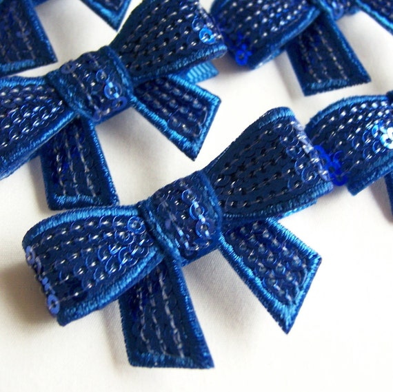 Royal Blue Sequin Bow Hair Clip - Sequined Bow Clippie - every day and special occasions