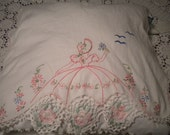 Pretty Garden Lady Vintage Chenille Pillow and Matching Dresser Scarf