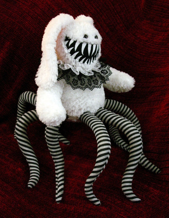 RESERVED for Harry- Bunny Monster White with striped tentacles and Ruff