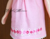Light pink smocked dress with circles hand embroidery for Blythe