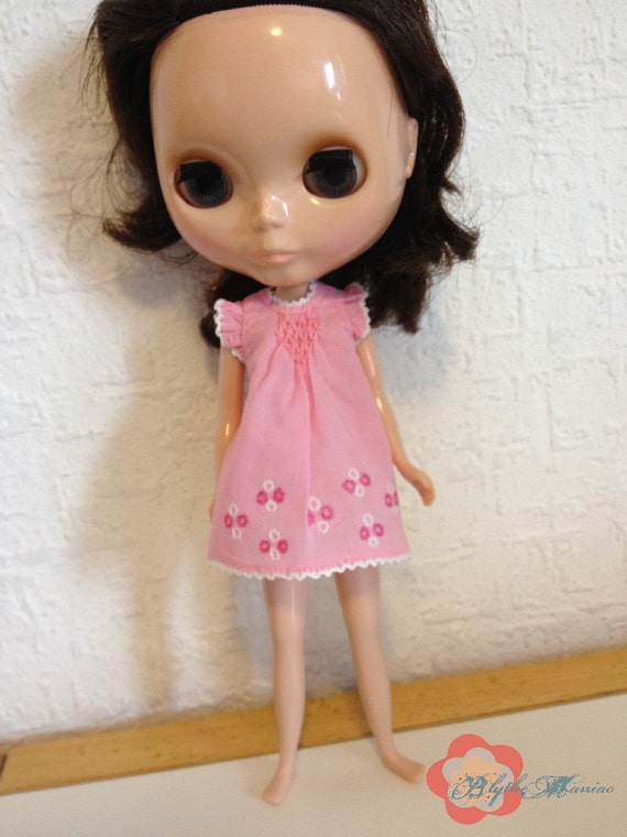 Pink smocked dress with white circles hand embroidery for Blythe