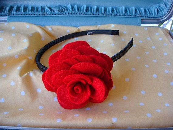 Red Felt Rose On Black Patent Leather Headband