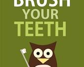 SALE 50 % OFF - Brush your teeth - owl - bathroom manners rules - green- digital print - 8x10 on A4