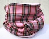 Pink Funky Tartan Fleece Lined Cowl / Tube scarf