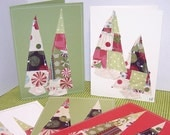 Two Trees Merry Set of 8 Applique Art Cards