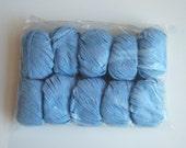 cotton rag yarn destash clearance....new still in bag....10 ball lot Rowan R2 rag...light sky blue azure cerulean ...color 005 lot22N3