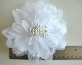 SILK PEONY FLOWER , Pearl White / 646