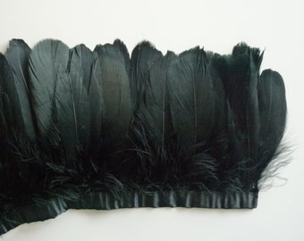 FEATHER FRINGE Fine Quality Goose Feather, Black, Ebony / 461