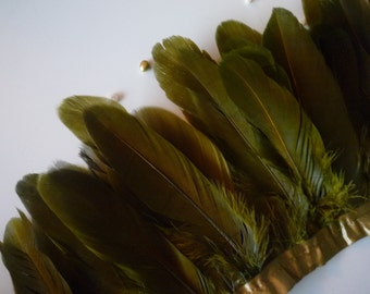GOOSE FEATHER FRINGE , Two tone Dark Olive Green /  453