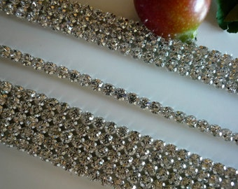 DIVA Rhinestone  Banding, Trim /  Clear Crystal w/ Cone Silver Back / 2 Rows , 15 inches / ANETTE