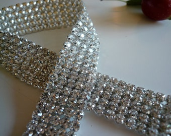 DIVA Rhinestone  Banding, Trim / Clear Crystal w/ Silver Back / 3 Rows - 20 inches/ LOLA