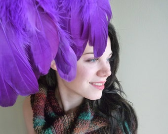 FEATHER FRINGE Fine Quality Goose Feather, Purple /455
