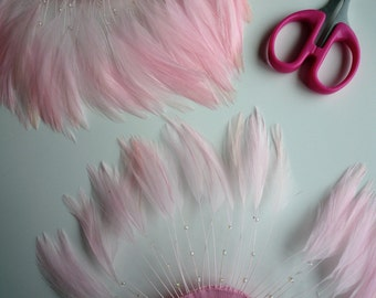 HALF PINWHEEL Beaded Feathers / Baby Pink  /  1228
