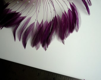 HALF PINWHEEL Beaded Hackle Feathers /  Plum Purple  /  1223