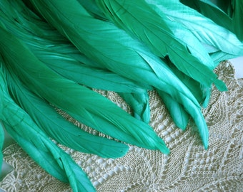 COQUE TAIL FEATHERS Loose / Mermaid , Satin Emerald, Jade  Green / 188
