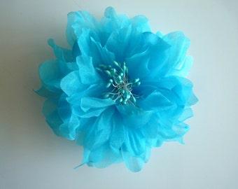 SILK PEONY FLOWER , Turquoise ,  Aqua Blue/ 651
