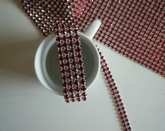 PRINCESS Rhinestone  Banding, Trim  / Ruby Red  Crystal w/ Silver Back / 2 rows / 1 yard / MARIA